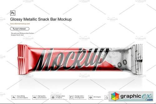 Glossy Metallic Snack Bar Mockup 3649312