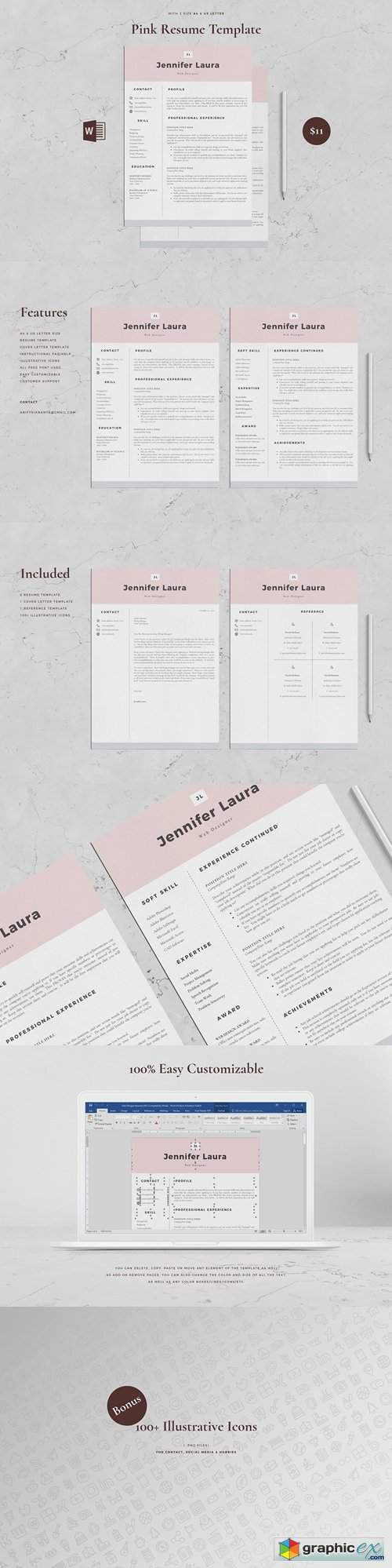 Resume Template 4 Page - Pink 3260014