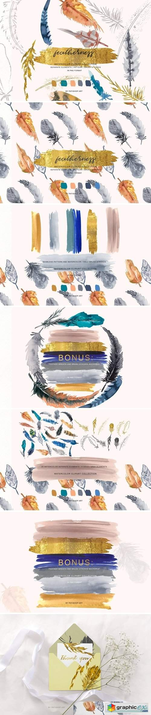 Watercolor & Gold Feather Clipart