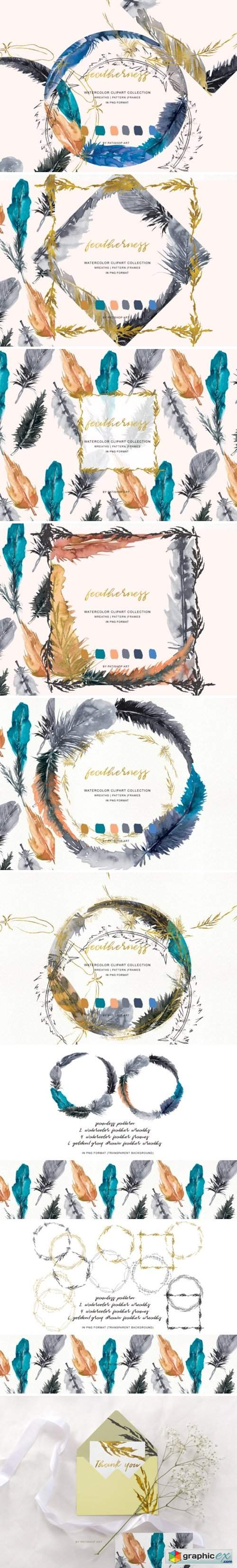 Watercolor Feather Wreath & Frames