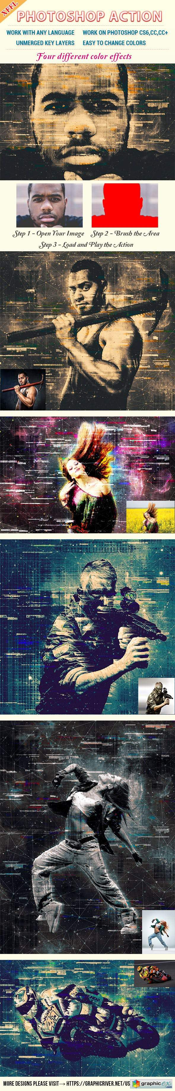 Glitch Mottled Effect Photoshop Action