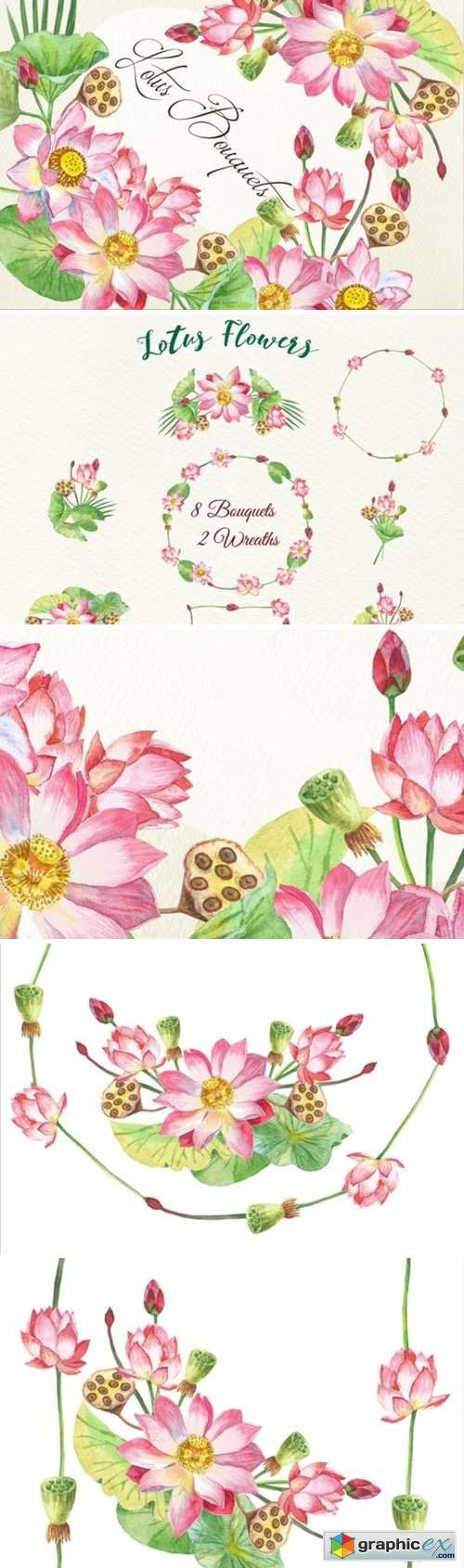 Lotus Flowers Clipart Bouquets Wreaths