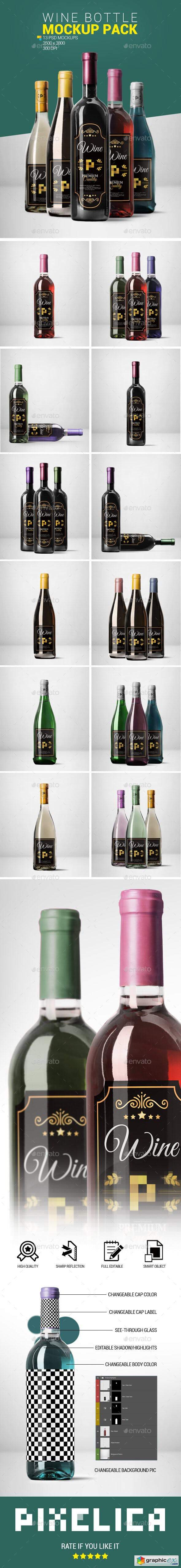 Wine Bottle Mockup Pack 2