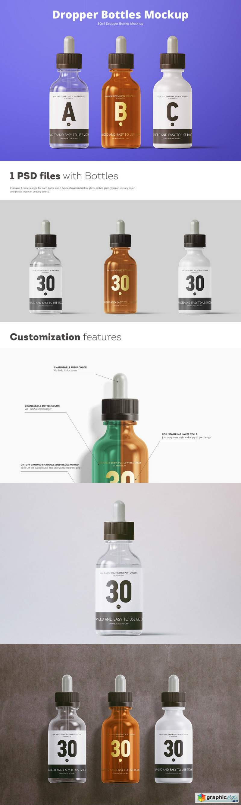 30ml Dropper Bottles Mockup 3734493