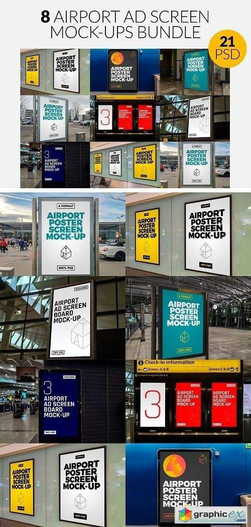 8 Airport Ad Screen Mock-Ups Set