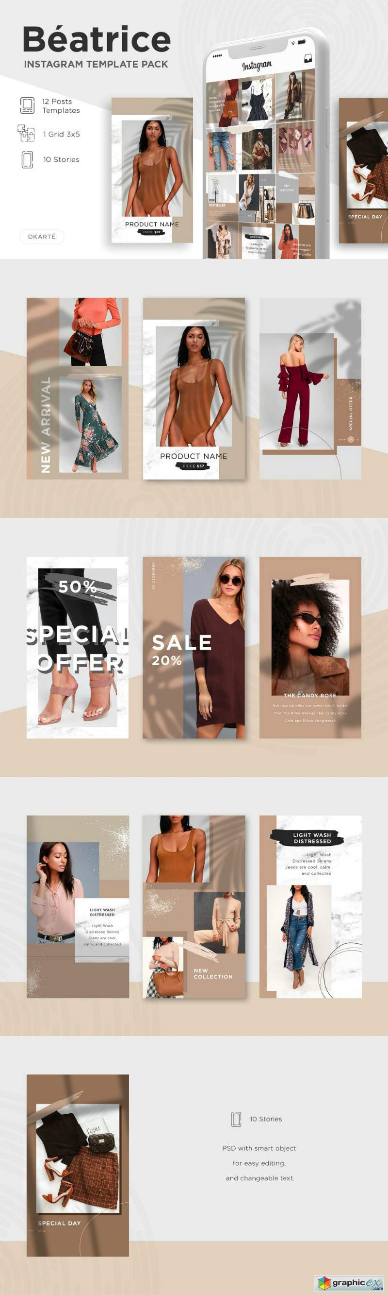 Beatrice Instagram Template Pack