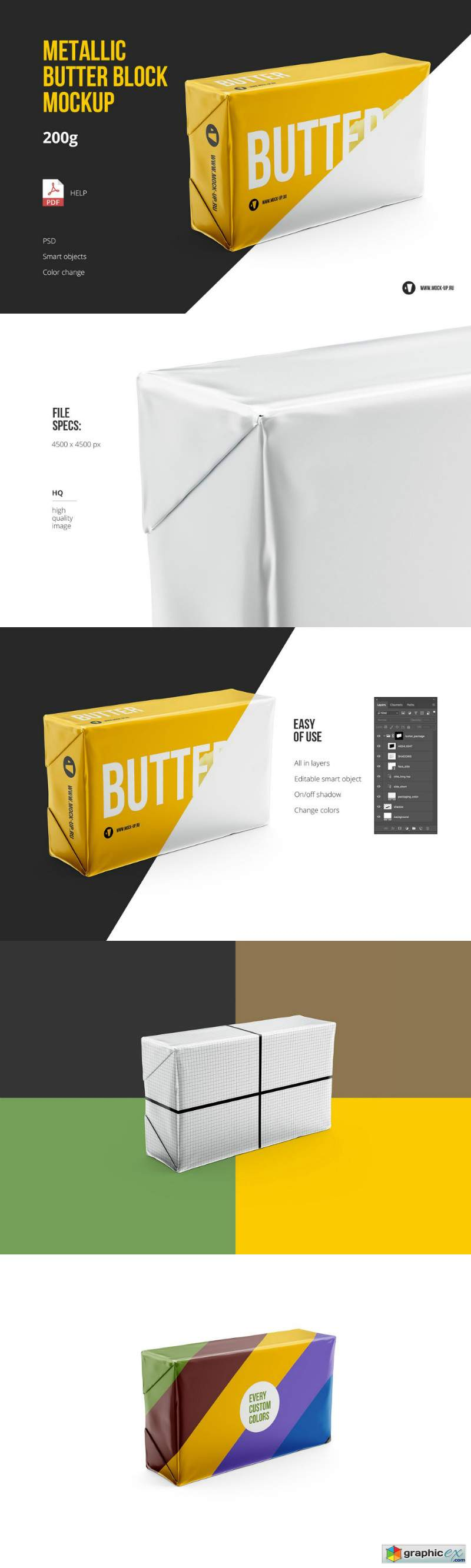 Butter 200g Front 3-4 view Mockup
