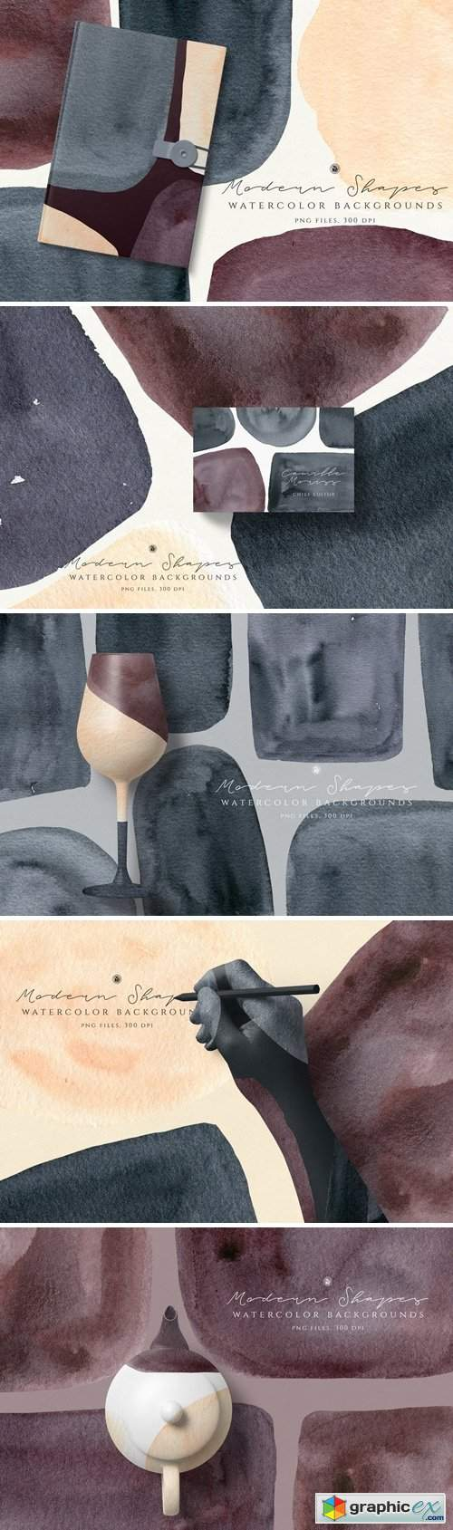 Watercolor Backgrounds Modern Shapes
