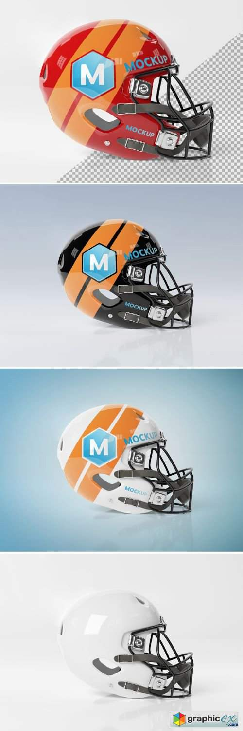 Isolated American Football Helmet Mockup