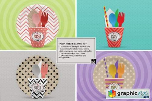 Party Plates and Utensils Mockup