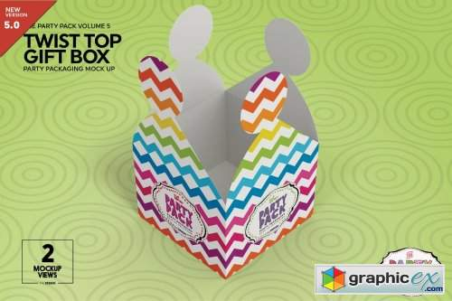 Twist Top Gift Box Packaging Mockup