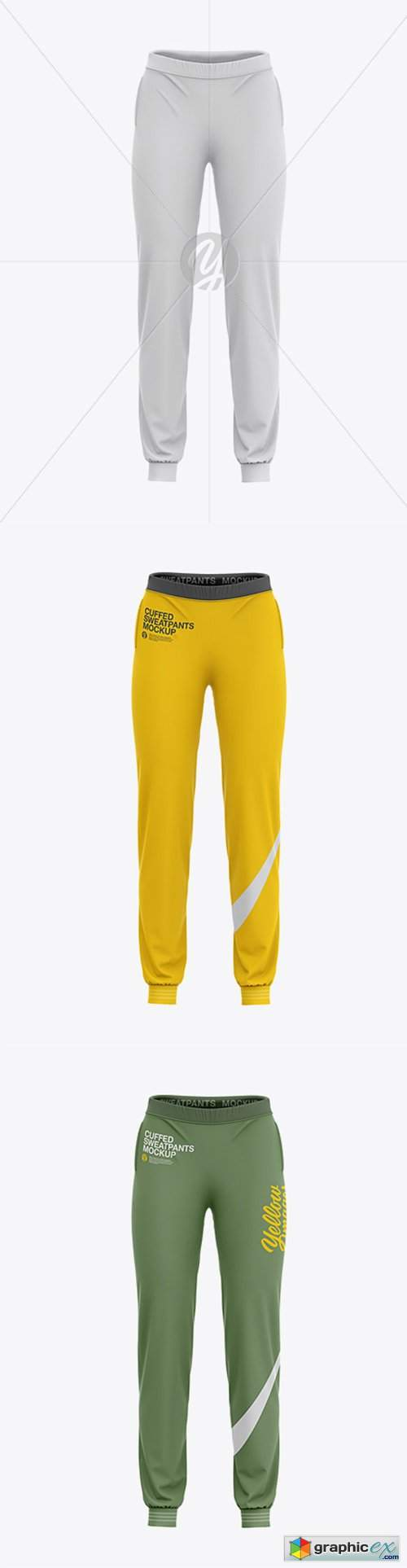 Women's Cuffed Sweatpants Mockup - Front View