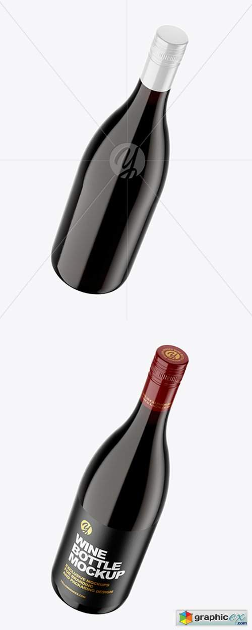 Clear Glass Red Wine Bottle Mockup 43442