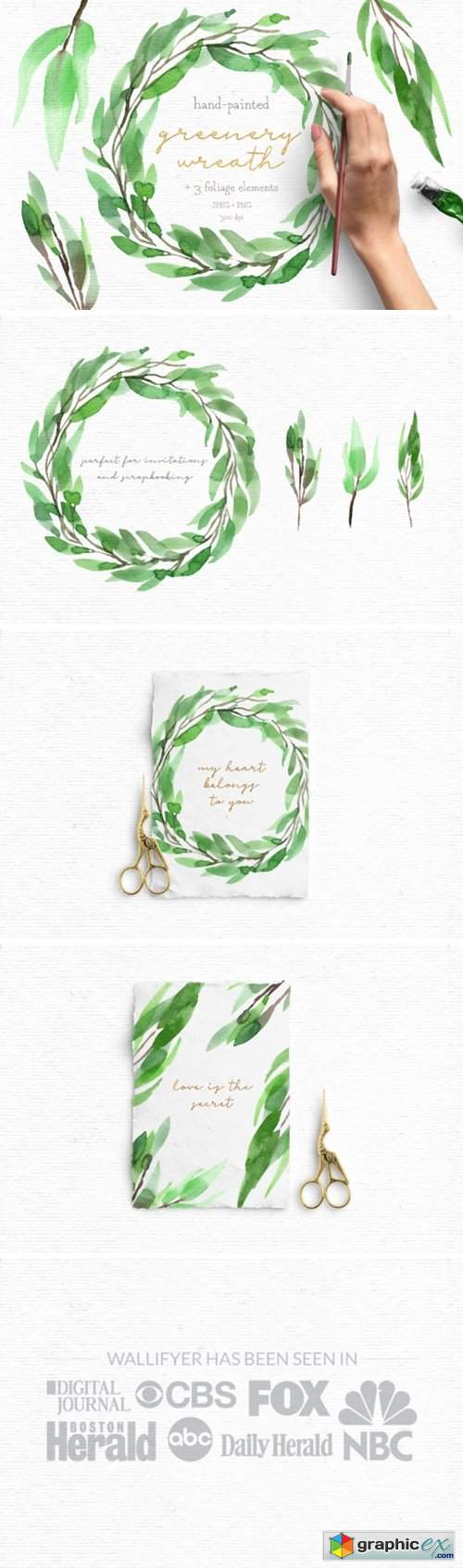 Greenery Watercolor Wreath Clipart Pack