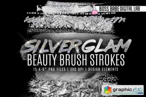 Silver Glam Beauty Brush Strokes