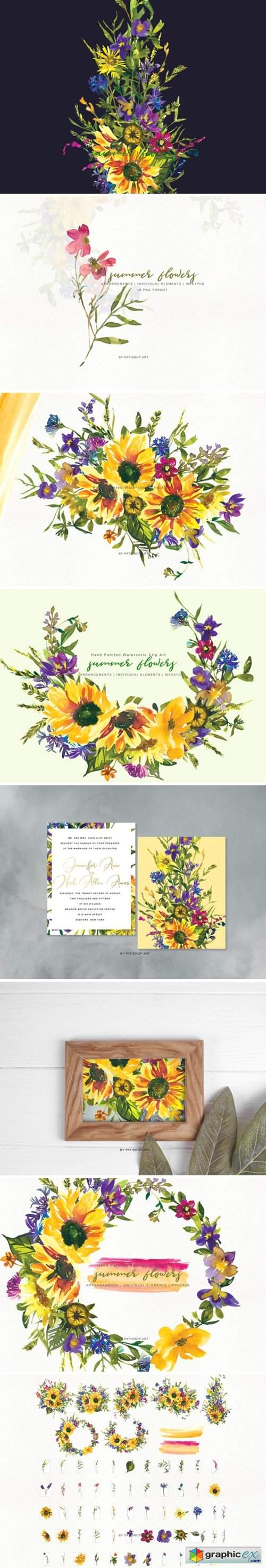 Watercolor Sunflower Wildflower Clipart