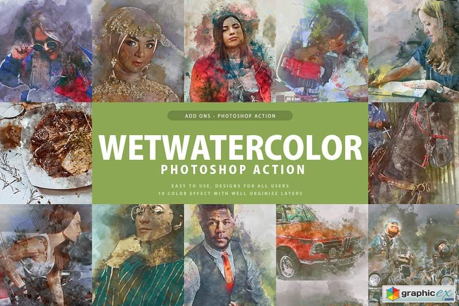 Wet Watercolor Photoshop Action » Free Download Vector Stock