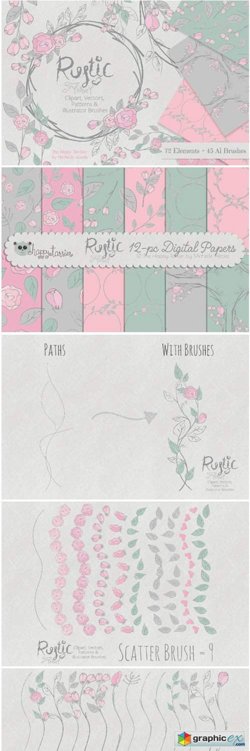 Rustic Floral Graphics Pack » Free Download Vector Stock