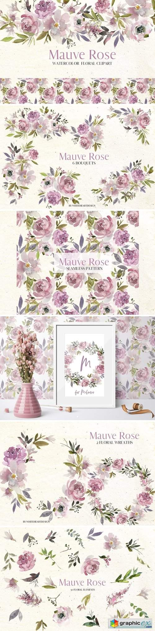 Mauve Rose Watercolor Floral Clipart