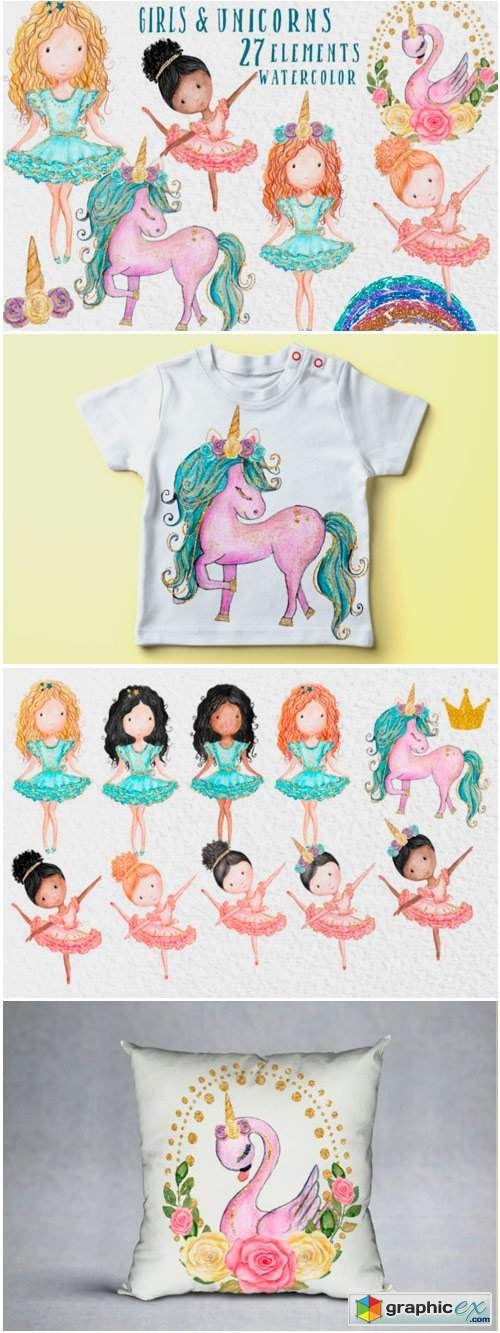 Watercolor Girl S Clipart Cute Unicorns