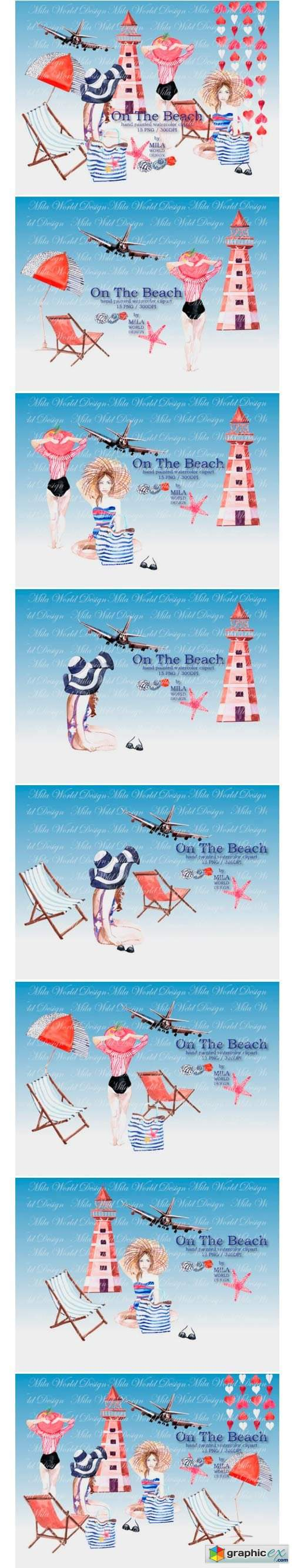 On the Beach Watercolor Clip Art
