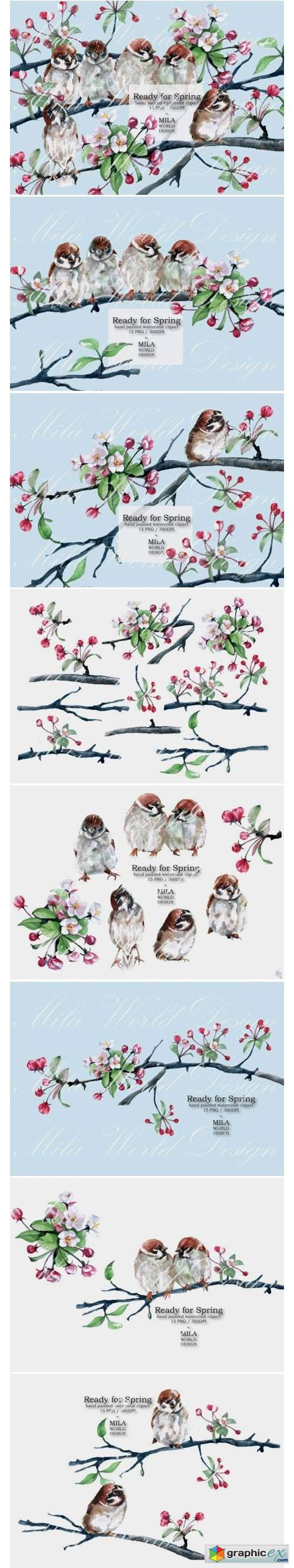 Ready for Spring Watercolor Clip Art