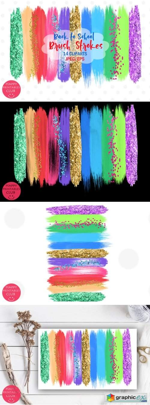 Back to School Brush Strokes Clipart