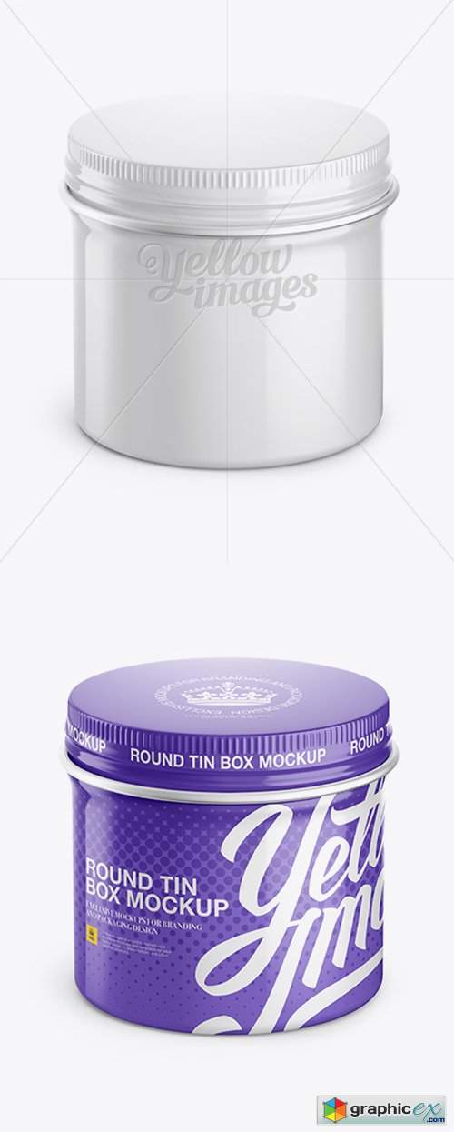 Glossy Round Tin Box Mockup - High-Angle Shot