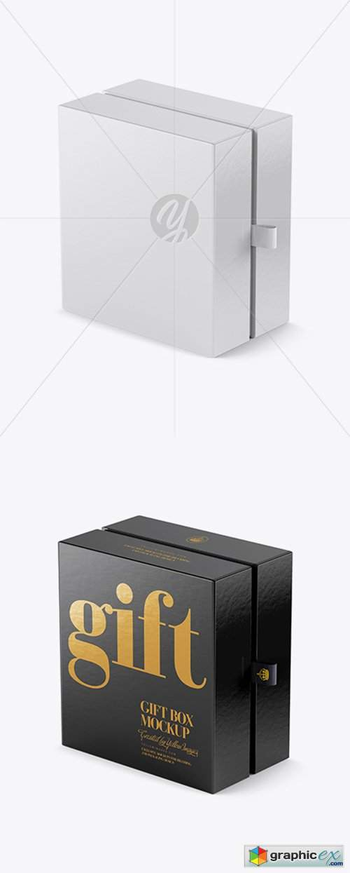 Glossy Gift Box Mockup - Half Side View (High-Angle Shot)