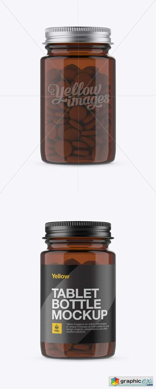Amber Pill Bottle w/ Metal Cap Mockup - Front View