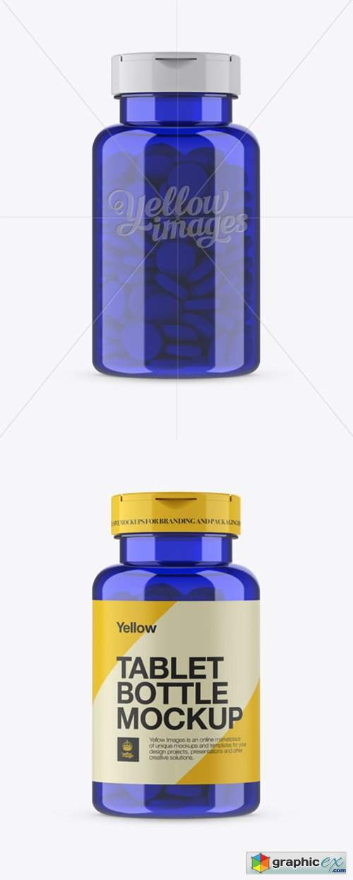 Blue Pill Bottle Mockup - Front View
