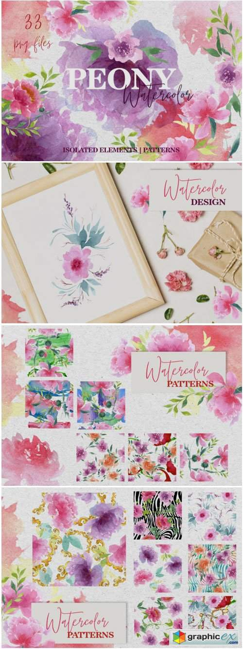 Watercolor Pink Peonies PNG Collection