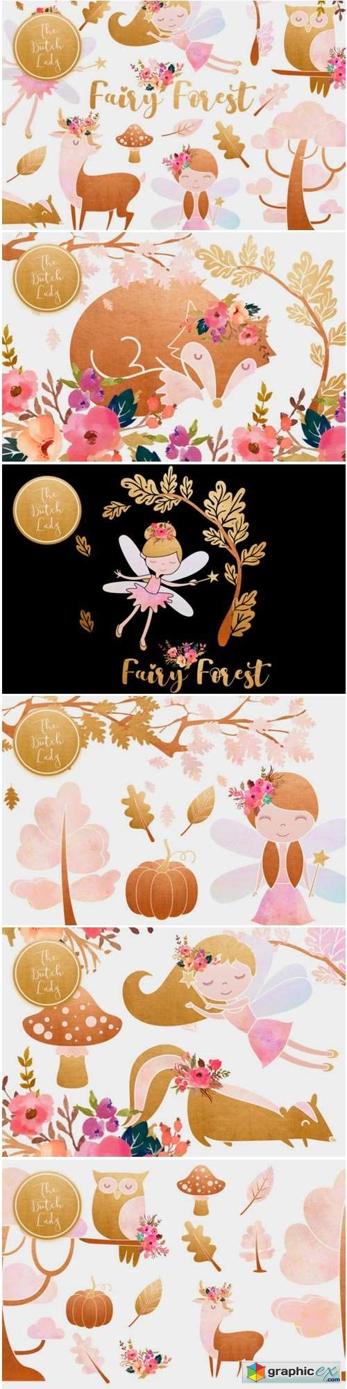 Enchanted Fairy Forest Clipart Set