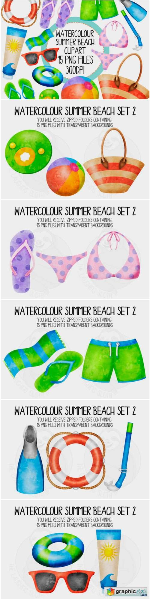 Watercolour Summer Beach Set 2