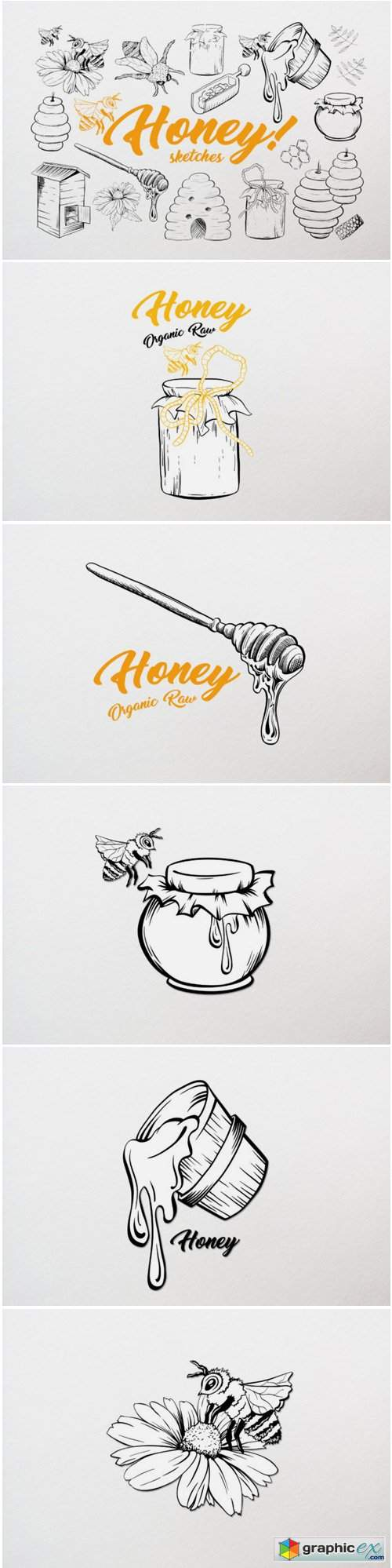 Honey Sketches Vector Drawings