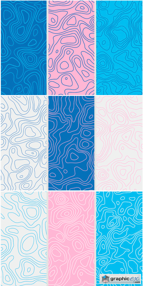 9 Topographic Maps Seamless Patterns