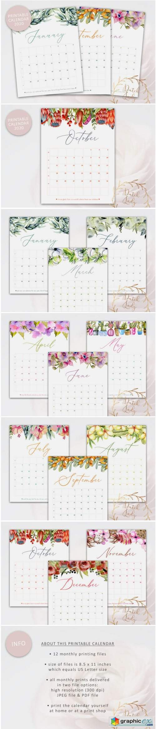 Printable Monthly Calendar 2020 Florals