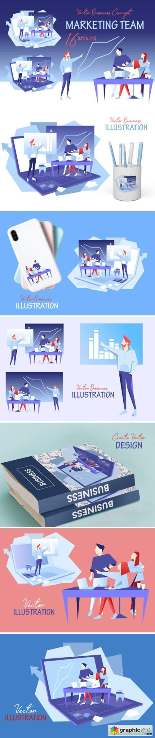Marketing Team Vector Design Set