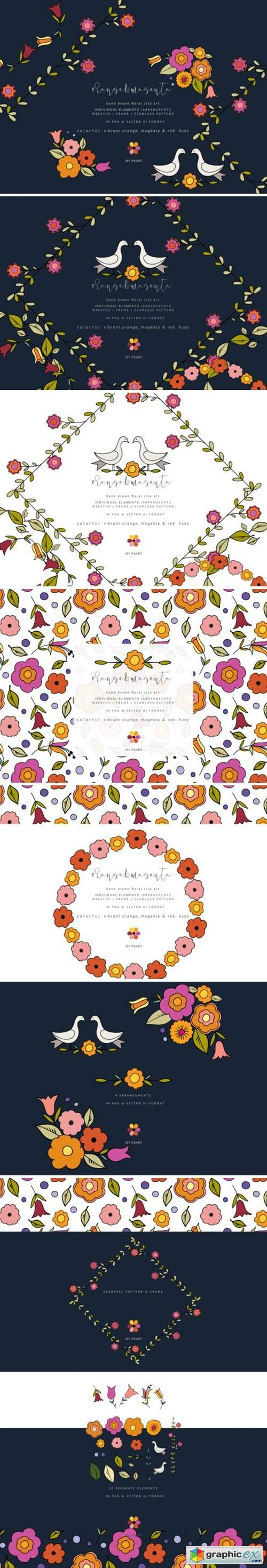 Hand-Draw Flowers Clipart