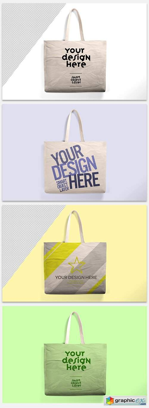 Beige Canvas Tote Bag Mockup