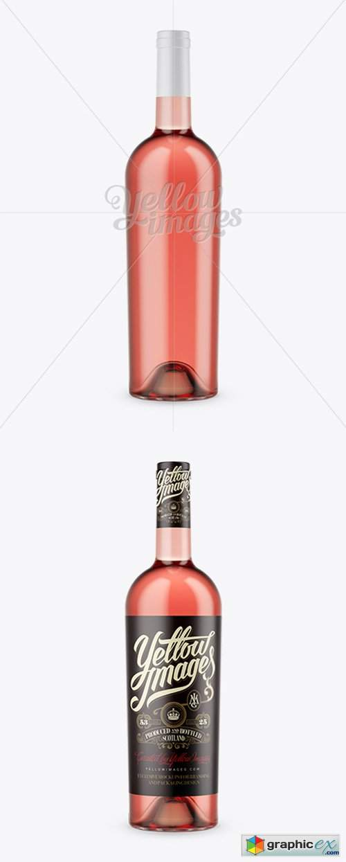 Pink Bottle For Wine Mockup