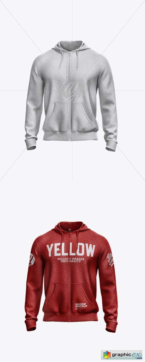 Melange Men's Full-Zip Hoodie Mockup - Front View