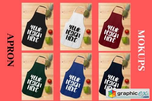 Apron Mock Ups Bundle with Kitchen Theme