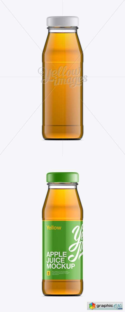 Clear Bottle W/ Apple Juice Mockup