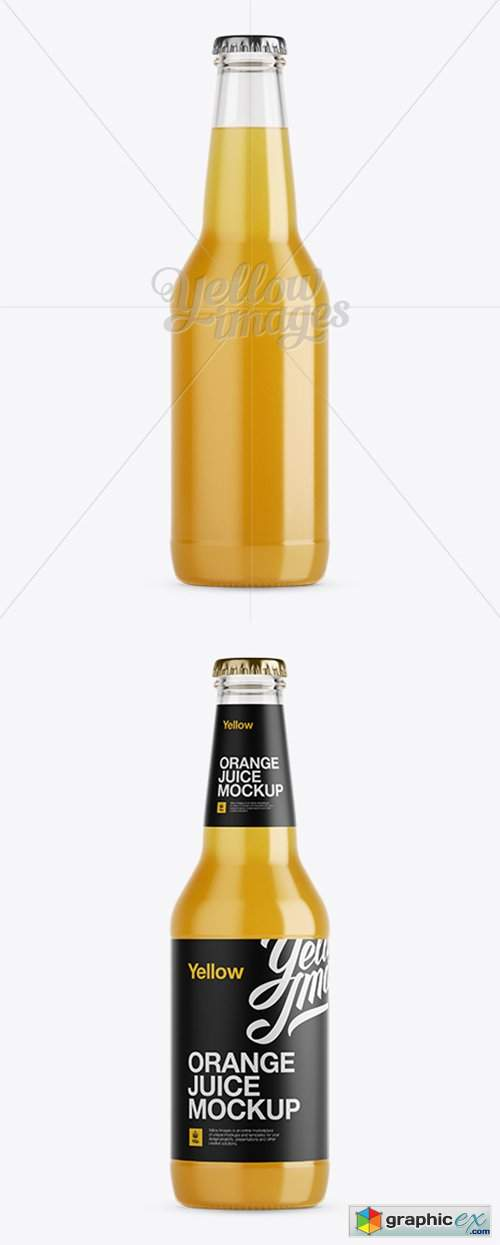 330ml Orange Juice Bottle Mockup