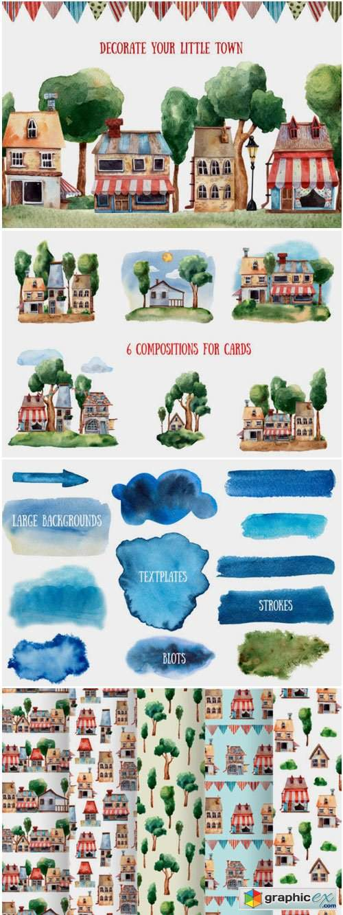 Summer Town - Watercolor Clip Art Set