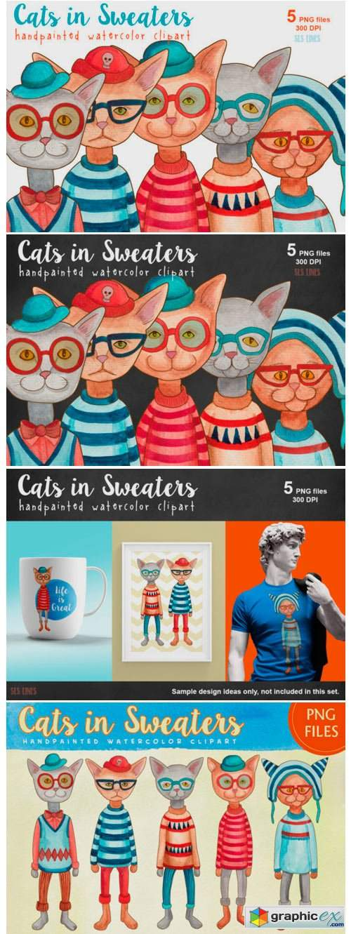 Cats in Sweaters Watercolor Clipart Set