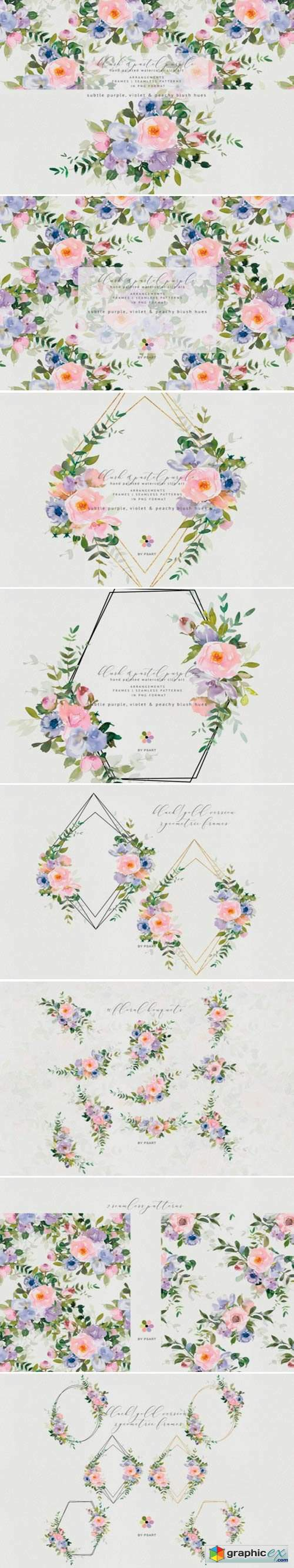 Watercolor Floral Blush Purple Set