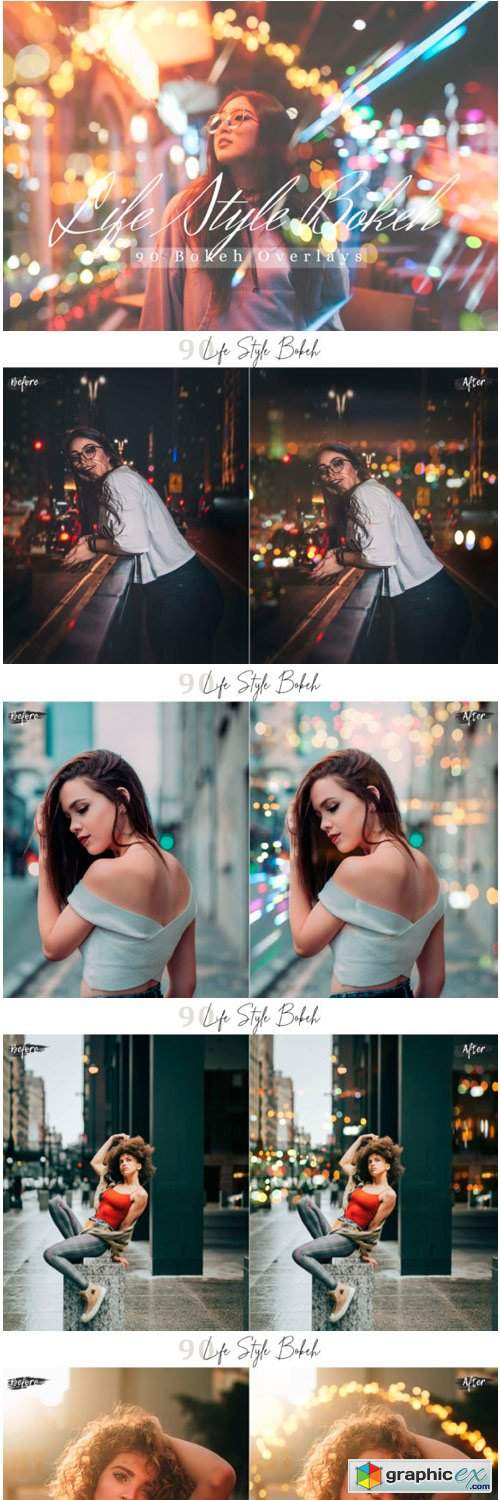 90 Life Style Bokeh Photo Overlays