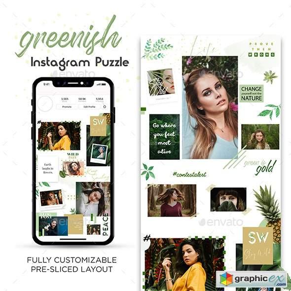 Greenish Instagram Puzzle Template » Free Download Vector
